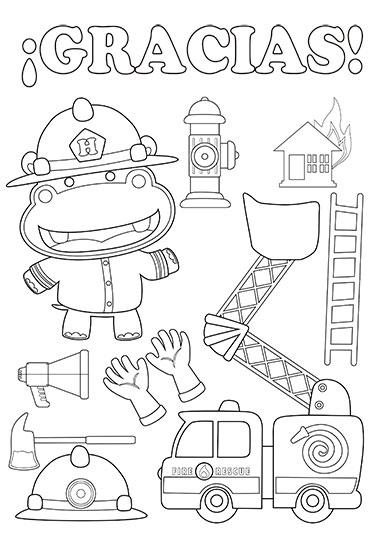 colorea el bombero