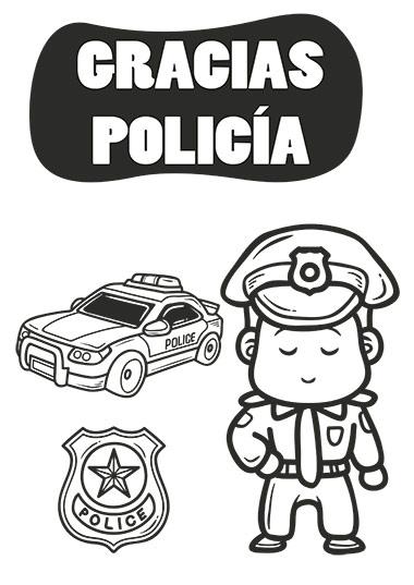 colorea al policía