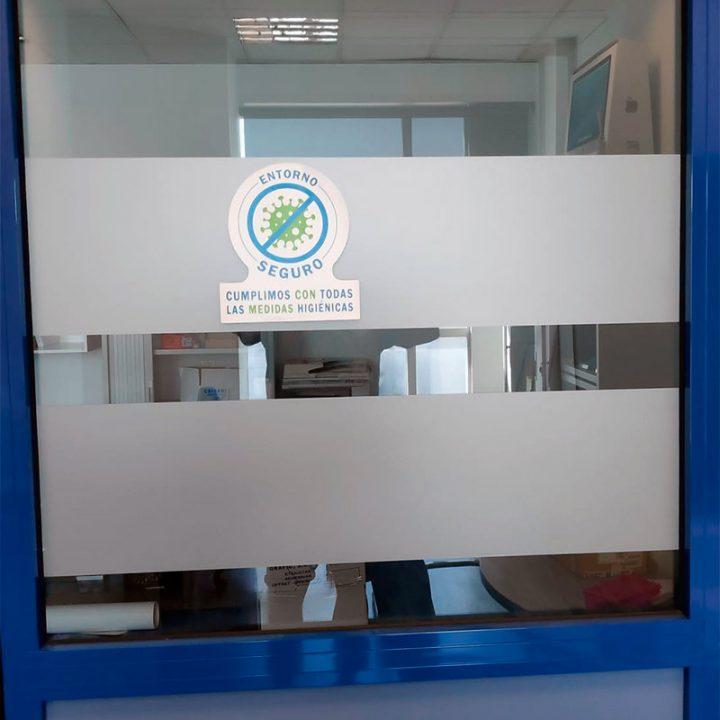 pegatina de entorno seguro y libre de virus