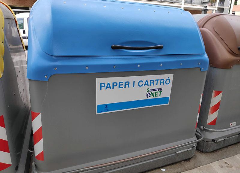 vinilo contenedor de reciclaje de papel