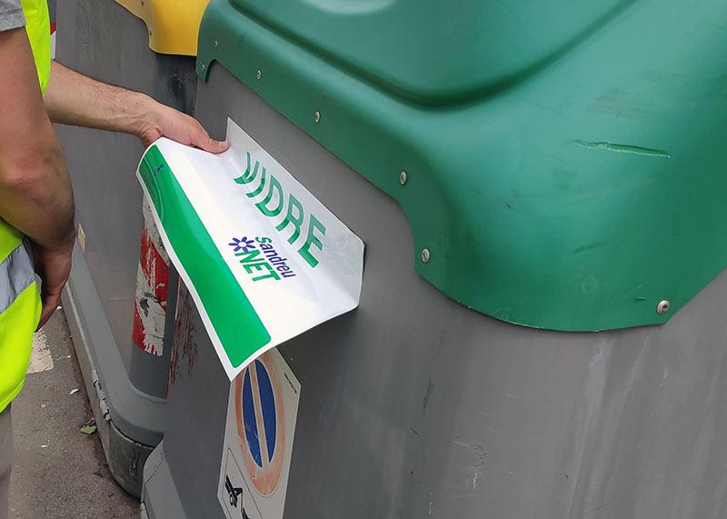 adhesivos para contenedores de basura